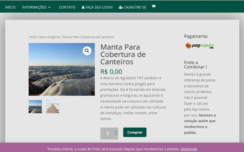 Página de produto de um site de agronegócio