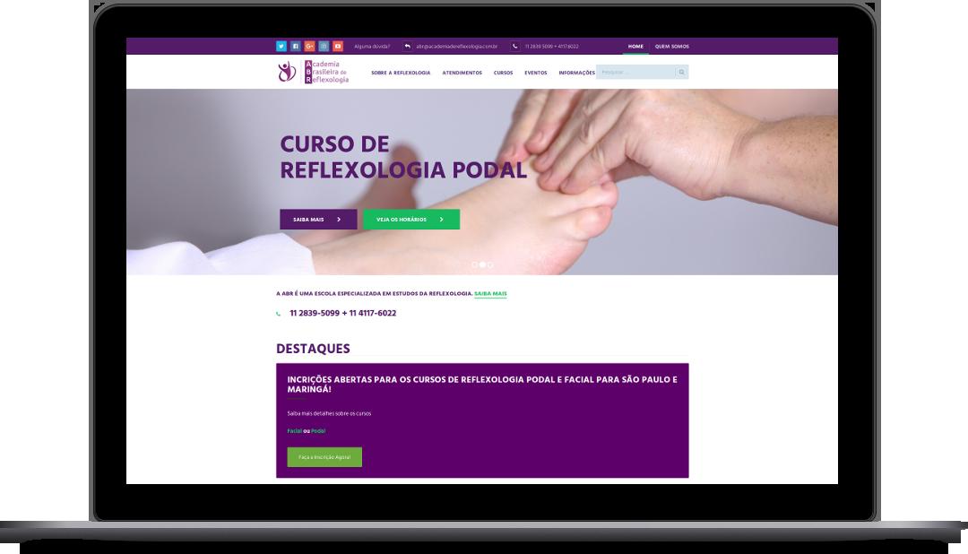 Página inicial de um site de reflexologia